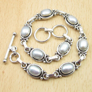 """AAA Qaulity WHITE PEARL Perfect Bracelet 8""""  Silver Plated Over Solid Copper"""