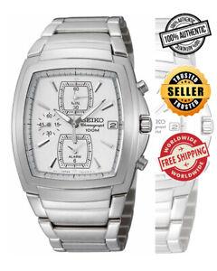SEIKO Alarm Chronograph SNA667 SNA667P1 Men Steel Silver Dial 100m Quartz Watch
