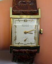 1940's 14K Solid Gold Gruen Regal Fancy Deco 17 Jewel Men's Vintage Watch