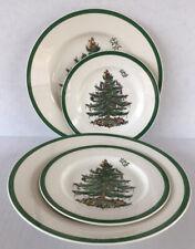 "Spode Christmas Tree Plates Dinner 10 3/4"" & Salad Plates 7 3/4"" Set Of 4"