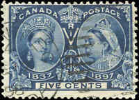 1897 Used Canada 5c F Scott #54 Diamond Jubilee Stamp