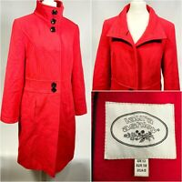 Laura Ashley Long Wool Overcoat in Red - Size 12 Women's - Great Condition