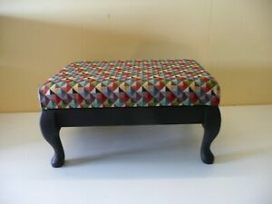 SMALL VINTAGE FOOTSTOOL FOOT REST  reupholstered in great condition