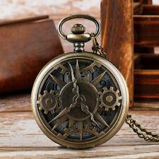 Vintage Hollow Gear Men Women Analog Quartz Pocket Watch Necklace Chain Gift