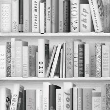 Fashion Library Bookcase Black Grey and Silver Bookshelf Wallpaper 139502
