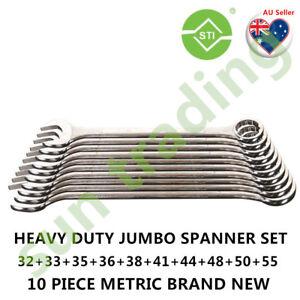 SUPATOOL Heavy Duty Jumbo Combination Spanner 10pcs set, 10PCS METRIC SET