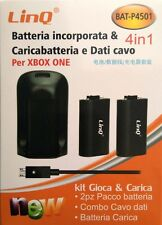 2x Batería Recargable + BASE DE CARGA + CABLE DE DATOS 4 EN 1 para XBOX ONE LINQ