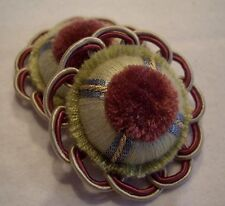 "CRANBERRY CELERY & PEARL ""BOUTON"" FRENCH PASSEMENTERIE ROSETTE TRIM!"