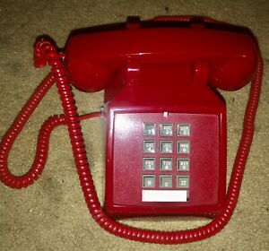 CETIS RETRO RED PUSH BUTTON DESK TELEPHONE VINTAGE STYLE W/10 FOOT CORD LOOK!!