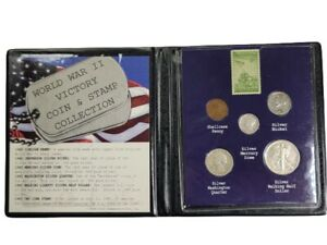 First Commemorative Mint 1945 World War II Victory Silver Coin Stamp Collection