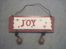 PRIMITIVE EMBROIDERED WOOD & CLOTH CHRISTMAS SIGN JOY WITH BELLS