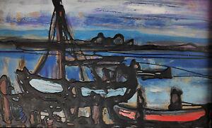 Vegesack, Rupprecht v. 1917 Dorpat -1976 Maasholm  Rotes und blaues Boot am Ufer