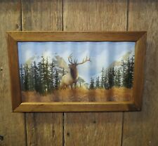 Elk picture on wavy tin hunting buck sportsman man cave anniversary