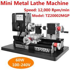 60W High Power Mini Metal Lathe Woodworking Machine Durable US Plug 100-240V