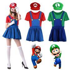 Adult Mario* and Luigi Costume  Womens Super Plumber Bros Halloween Fancy Dress