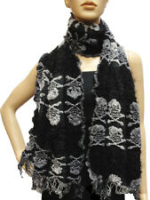 Striped Ruffle Soft  Wrap Scarf Long Tassel Design Winter Warm Skull Bone NEW