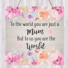 Shabby Personalised Floral Mum World Present Plaque Chic Gift Mother's Day