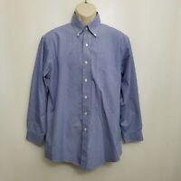 Brooks Brothers Mens Dress Shirt  15.5 32/33 Blue Plaid Button Down Non Iron