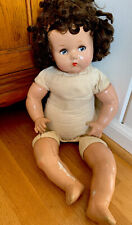 """Vintage 1930s Composition Brown Hair  Girl Doll 24"""" Tall"""