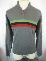 Mens Jantzen Gray Striped Acrylic 1/4 Zip Pullover Rugby Sweater sz Lg