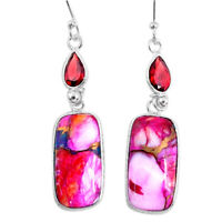 15.36cts Spiny Oyster Arizona Turquoise Garnet 925 Silver Dangle Earrings R62409