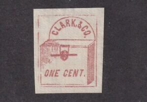 1857 Scott # 48L1 Clark & Co. N.Y. Red/White Stamp - Fake