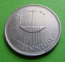 Old Irish Millennium 2000 One Pound Coin £1 Ireland Commemorative Boat Harp Eire