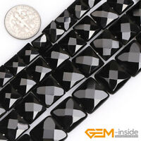 "Natural Gemstone Black Agate Onyx Faceted Square Beads For Jewelry Making 15"" YB"