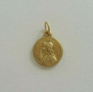 Old Medal Ancienne Petite Médaille Sainte JEANNE d'ARC en Métal coloris Doré