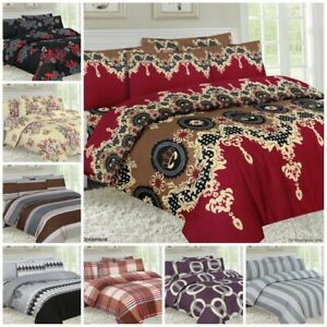 4 Piece Bedding Set with Duvet Cover Pillow Case Fitted Sheet Single Double King