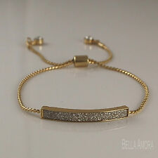 Adjustable 9ct Gold Plated ID Bar Rhinestone Crystals Bracelet Bangle UK -172