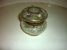 Ancienne boite bonbonnière verre émaillé  fin du 19eme siècle décor floral