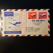 ALEMANIA AVIACIÓN CARTA COVER PREMIER VUELO HAMBURGO PARIS 1955