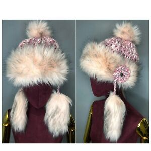 Luxury Starling Winter Handmade Faux Fur Wool Hat Earflap Pilot Trapper Pink
