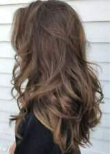 100% Human Hair Natural Long Wavy Light Brown Fashio Women's Wig