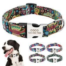 Personalized Boho Tribal Floral ID Dog Collars Laser Engraved Metal Buckle S M L