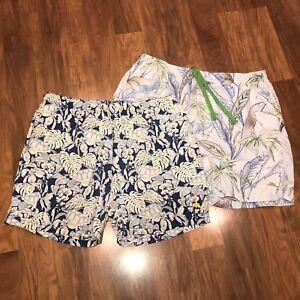 Lot of 2 TOMMY BAHAMA Swim Trunks Swordfish Turtle shorts Navy blue Mens XL