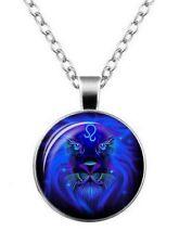 Collier, pendentif médaillon signe du zodiaque constellation lion, mixte.