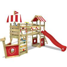 Aire de jeux WICKEY StormFlyer - Portique bois avec balançoire & toboggan rouge