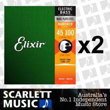 2x Elixir Nanoweb 14052 Light Long Scale Electric Bass Guitar Strings 45 - 100