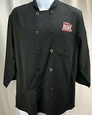 Joe's Crab Shack Happy Chef Coat Jacket Black Uniform Size S Double Breasted Nwo