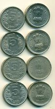 4 DIFFERENT 5 RUPEE COINS from INDIA - ALL 2001 w/ MINT MARKS of B, C, N & T