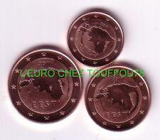 Pièces de 1,2,5cts euros d'Estonie 2011.