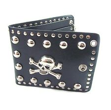 Men Skull Pirate Rivet Stud Black Leather Wallet PUNK Rocker Biker Bifold Purse