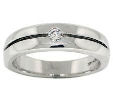 .15ct Mens Round Diamond Wedding Band 14k White Gold