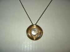 Vintage BERTMAR 17 Jewels Ladies Goldtone Wind Up Watch Pendant Necklace