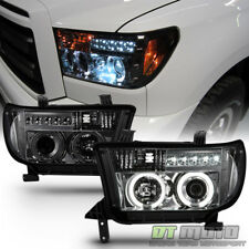 2007-2013 Toyota Tundra Sequoia CCFL Halo LED Projector Smoked Headlights Lamps