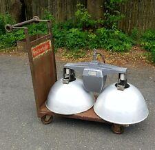 Vintage Industrial Double Holophane Atomic 1950's  Pendant Lamp Car Auto Garage