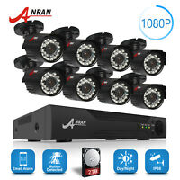 8CH AHD HDMI 1080N DVR 1080P CCTV Outdoor Night Vision Security Camera System 2T