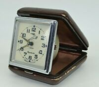 Vintage Travelling Clock Slava 1 Class Soviet USSR Mechanical Alarm Clock 1959